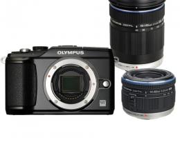 Фотоаппарат Olympus PEN E-PL2 14-42 mm + 40-150 mm black