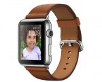 Apple Watch 42mm Stainless Steel Case with Saddle Brown Clas...