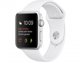 Apple Watch Sport 38mm Series 2 Silver Aluminum Case with White Sport Band (MNNW2)
