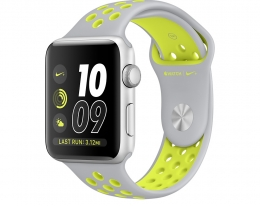 Apple Watch Nike+ 42mm Series 2 Silver Aluminum Case with Flat Silver/Volt Nike Sport Band (MNYQ2)