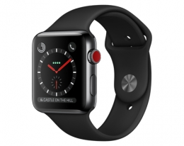 Apple Watch 42mm Series 3 GPS + Cellular Space Black Stainless Steel Case with Black Sport Band (MQK92)