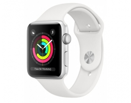 AppleWatch Series3 GPS 42mm Silver Aluminium Case with White Sport Band (MTF22)