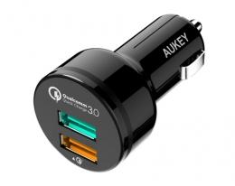 Автозарядка Aukey Quick Charge 3.0 2 USB Black (CC-T7)
