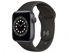 Apple Watch Series 6 GPS 44mm Space Gray Aluminum Case Black Sport Band (M00H3)