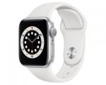 Apple Watch Series 6 GPS 44mm Silver Aluminum Case White Spo...
