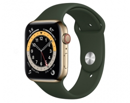 Apple Watch Series 6 GPS + Cellular 44mm Gold Stainless Steel Case with Cyprus Green Sport Band (M07N3, M09F3)