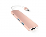 Адаптер Satechi Slim Aluminum Type-C Multi-Port Adapter Rose...