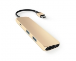 Адаптер Satechi Slim Aluminum Type-C Multi-Port Adapter Gold